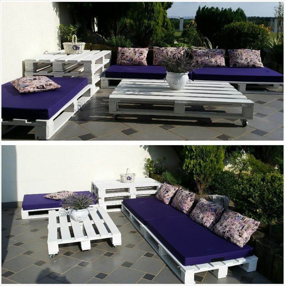 50 ultimate pallet outdoor furniture ideas for White painted pallets