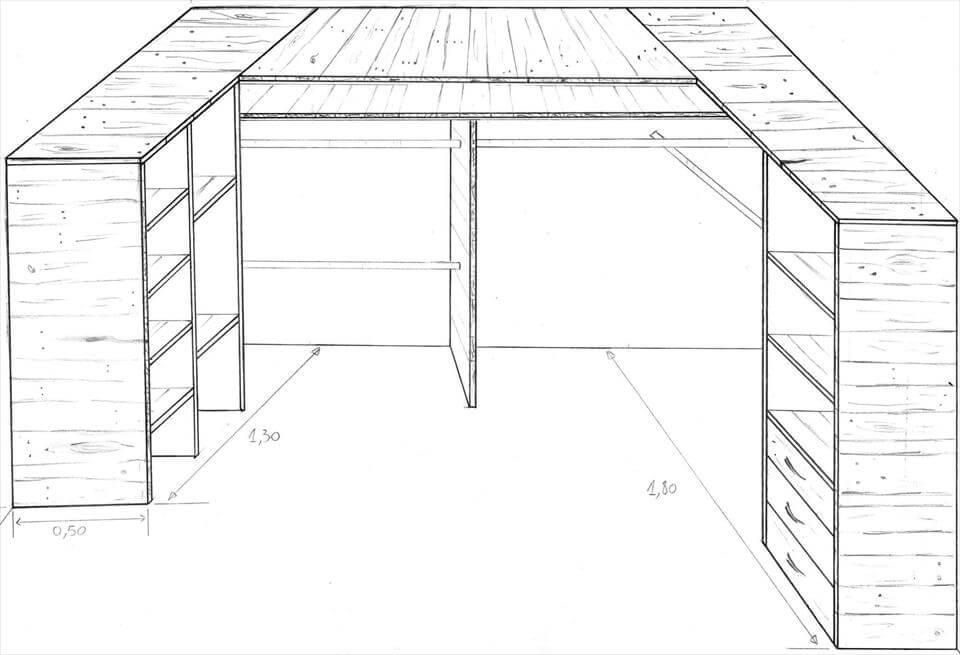 pallet corner cupboard or closet plan
