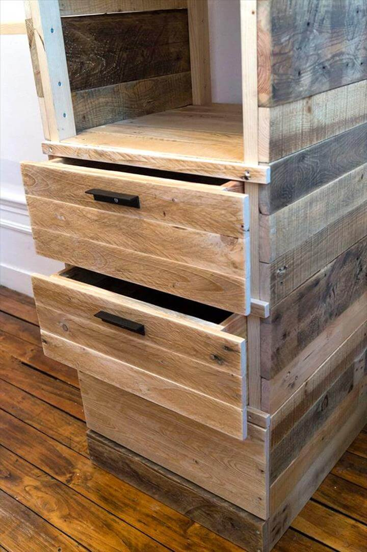 rustic wooden pallet cupboard or closet