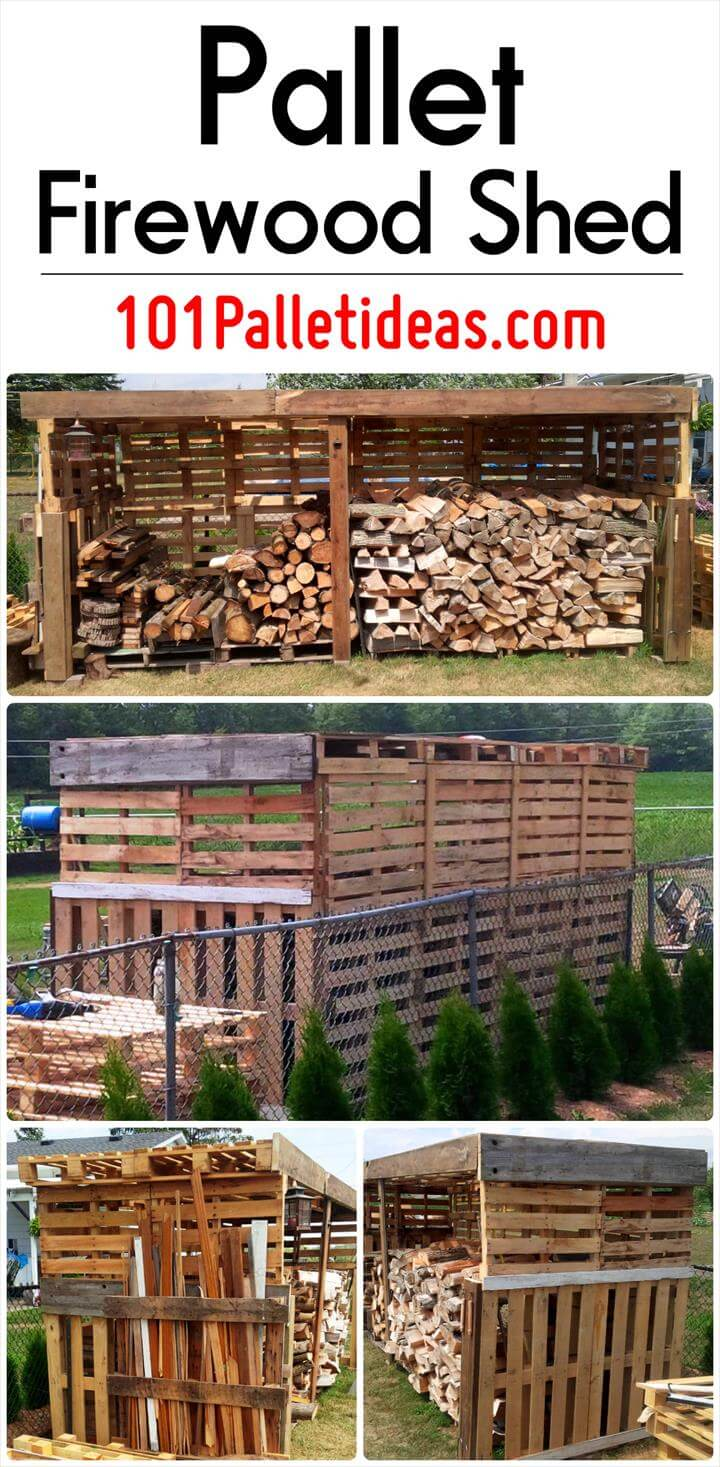 Pallet firewood shed for Shed project