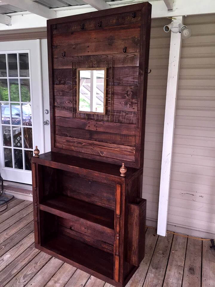 handcrafted wooden pallet hall tree