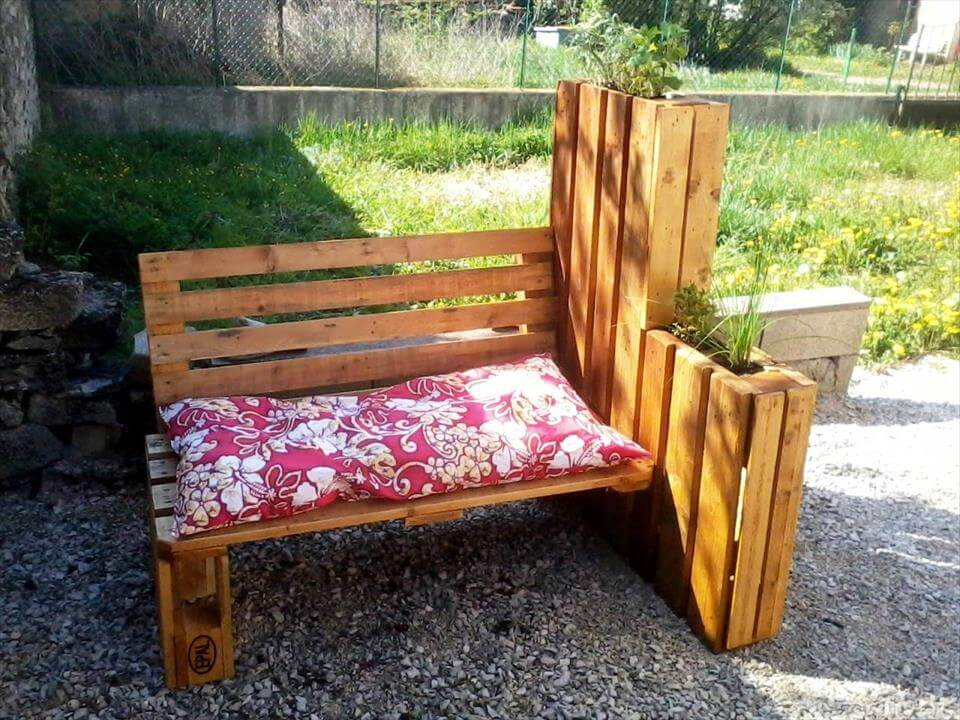 sturdy wooden pallet outdoor bench with built-in planters