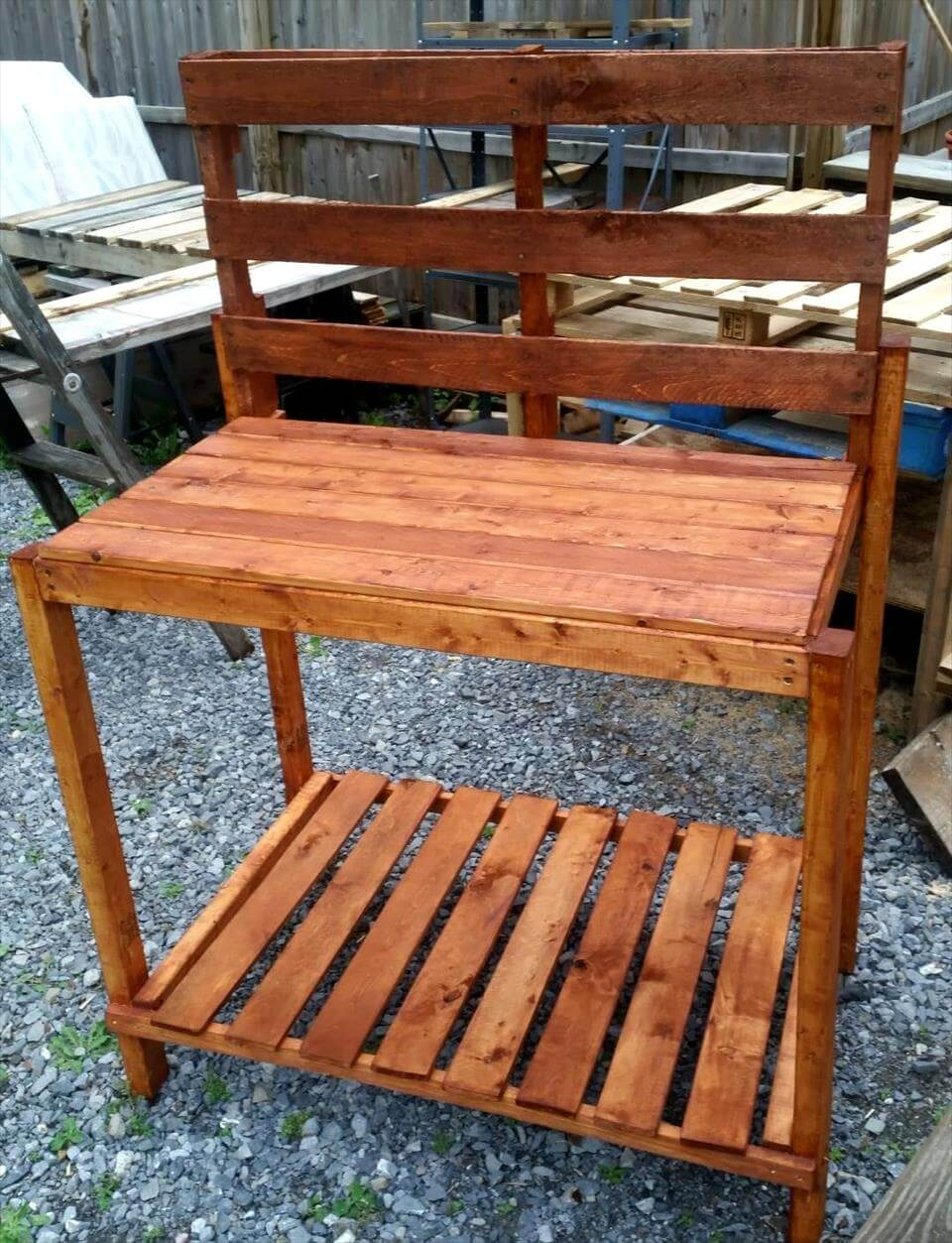 Pallet Potting Bench Step By Step 101 Pallet Ideas