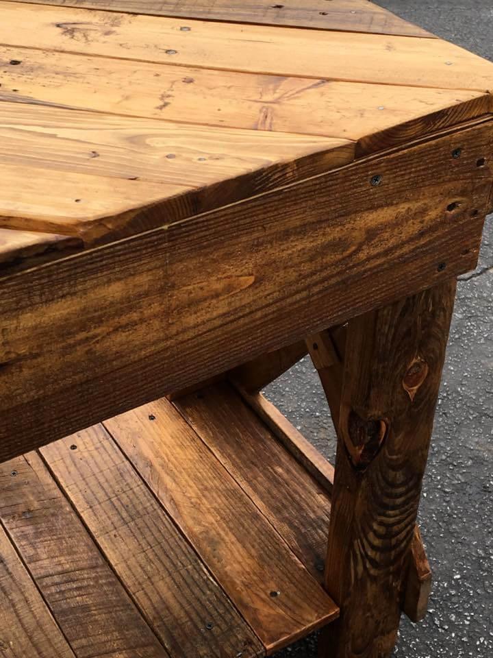 wooden pallet chevron sofa table