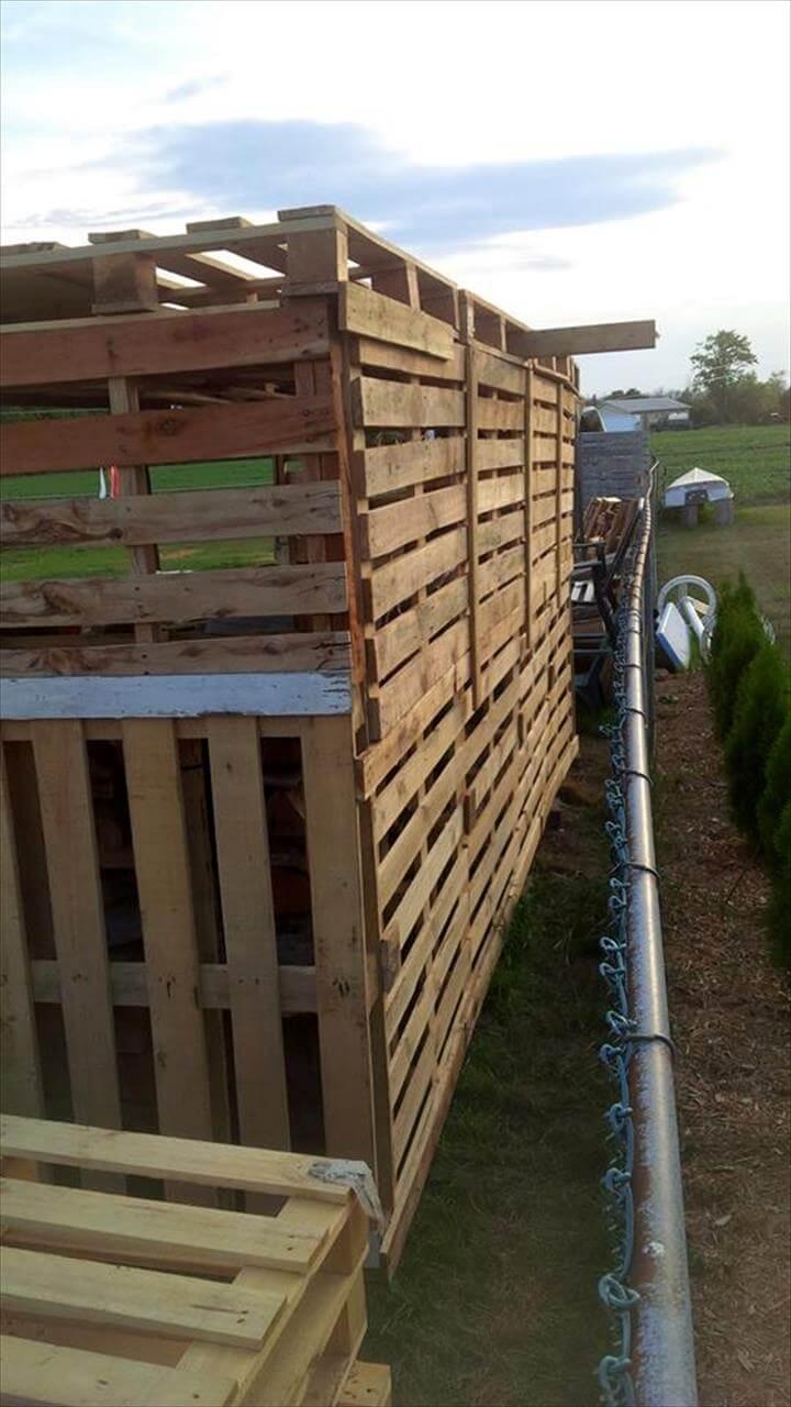 self-installed pallet firewood shed