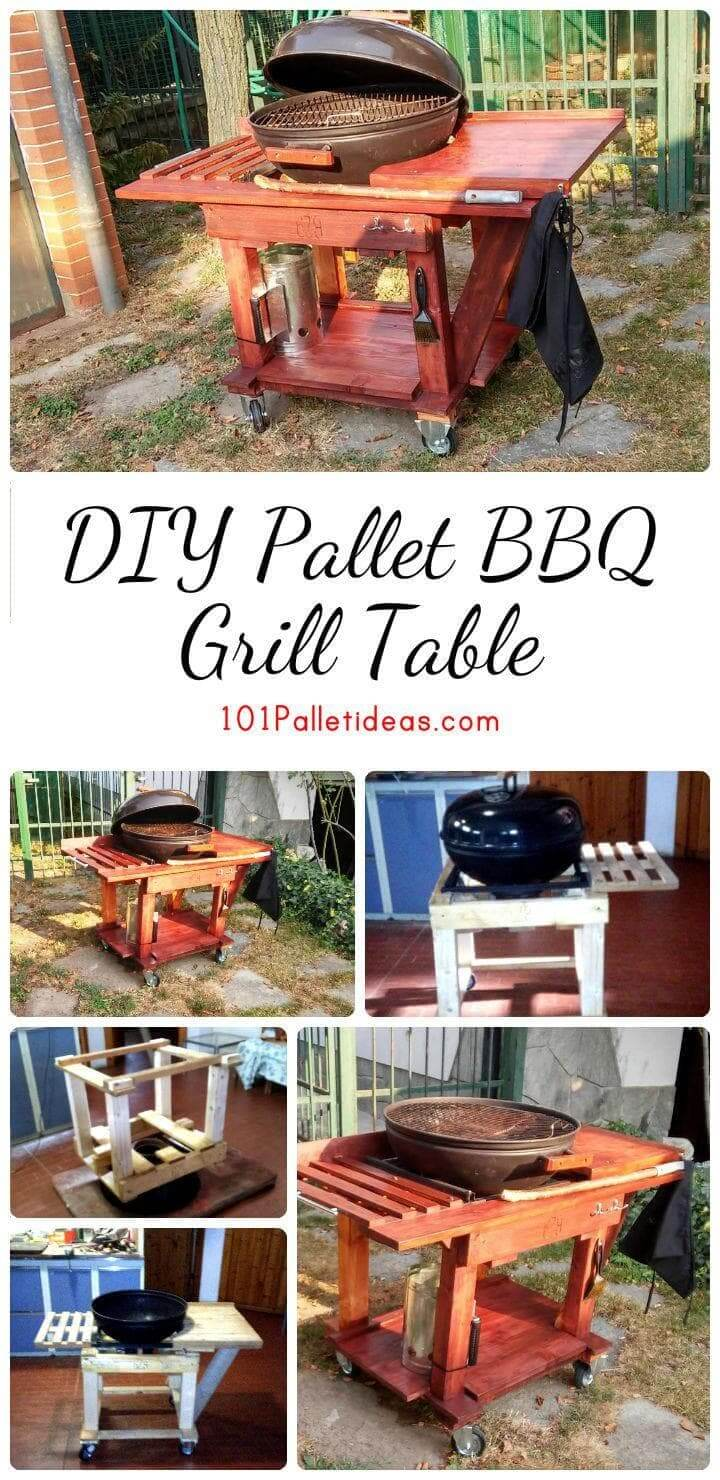 DIY Pallet BBQ Grill Table