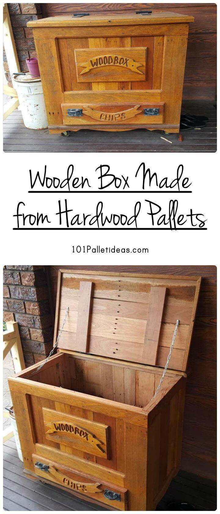 Wooden box made from hardwood pallets for Storage box made from pallets