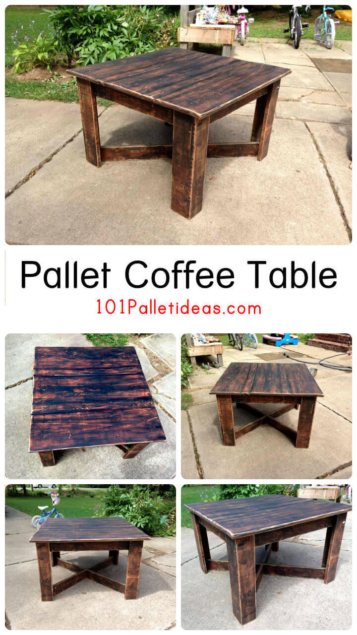 Upcycled pallet coffee table for Pallet coffee table ideas