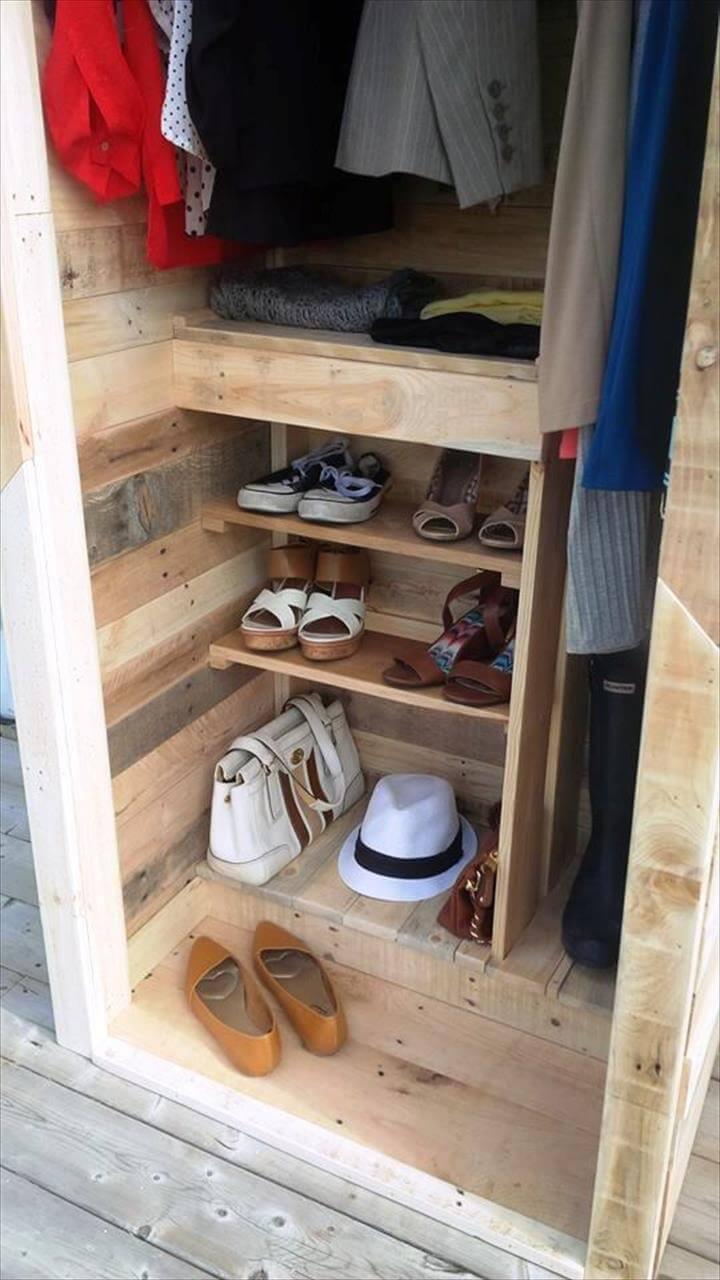 Pallet Wood Closet Organizer