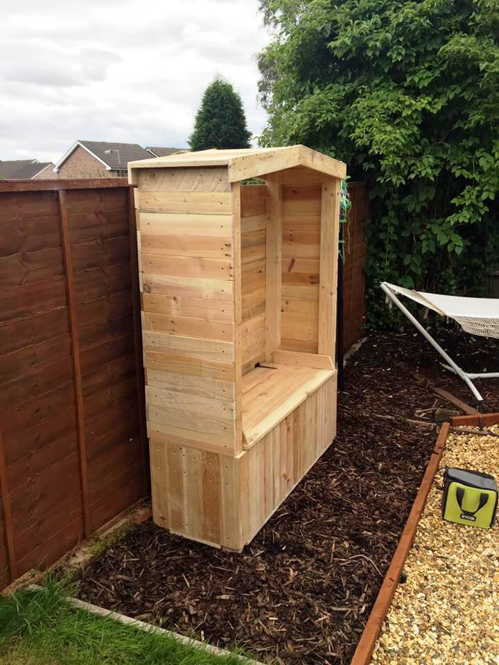 Wooden Pallet Bench Arbour Finished