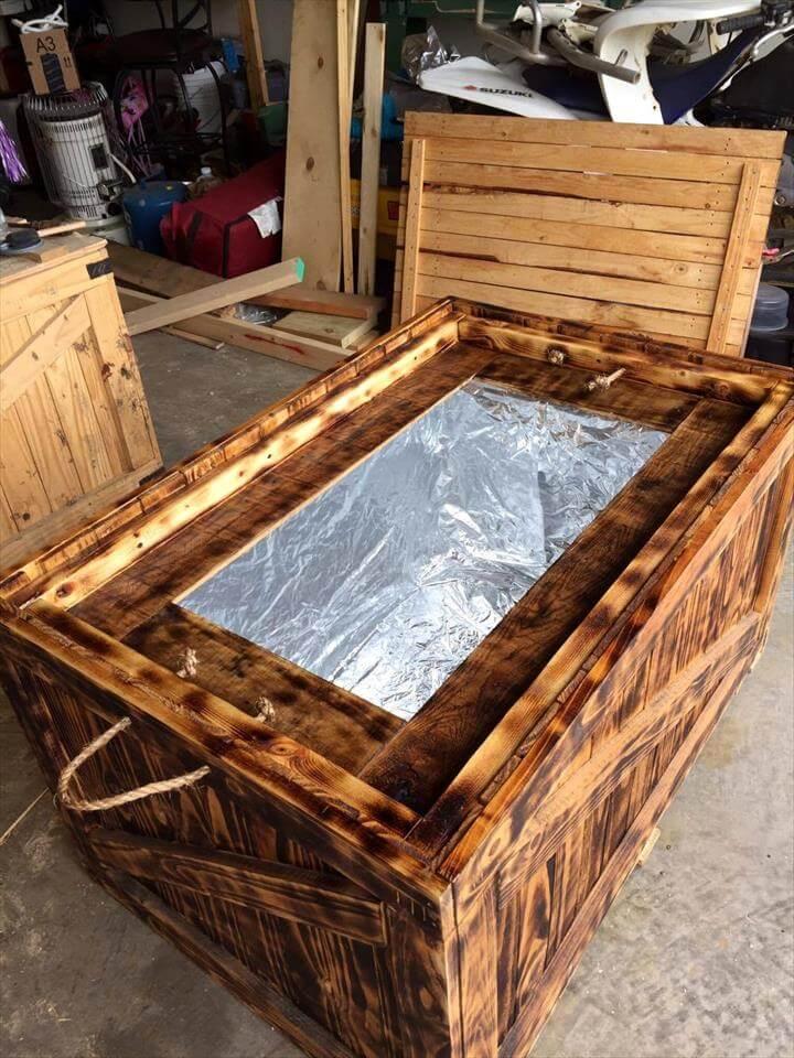 antique wooden cooler made of pallets