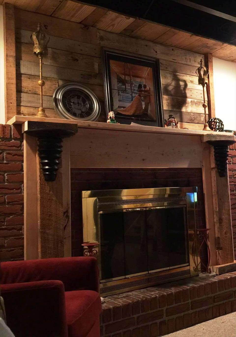 pallet fireplace mantle wall and shelf