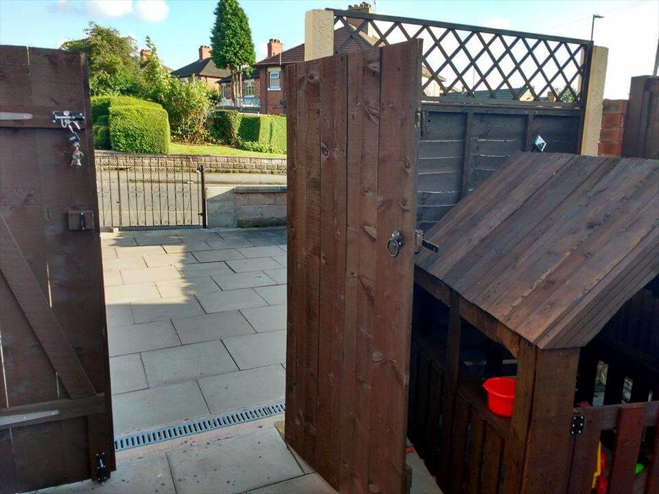 hand-built wooden pallet double garden gate