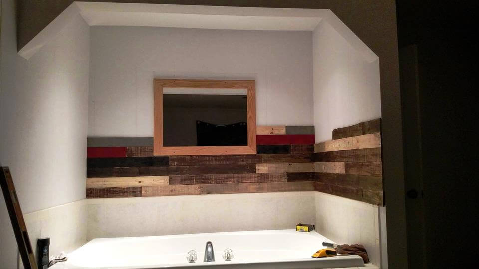 Pallet Wall Paneling Project Around The Jacuzzi Bath Tub