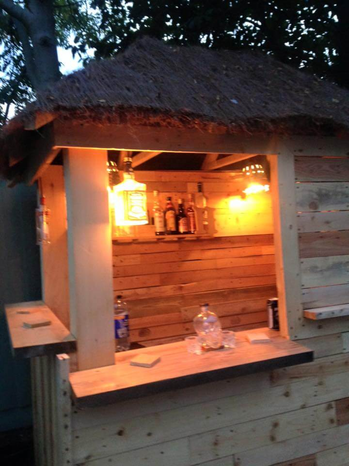 DIY Outdoor Pallet Bar with Pyramid Style Roof on Backyard Bar With Roof id=66544