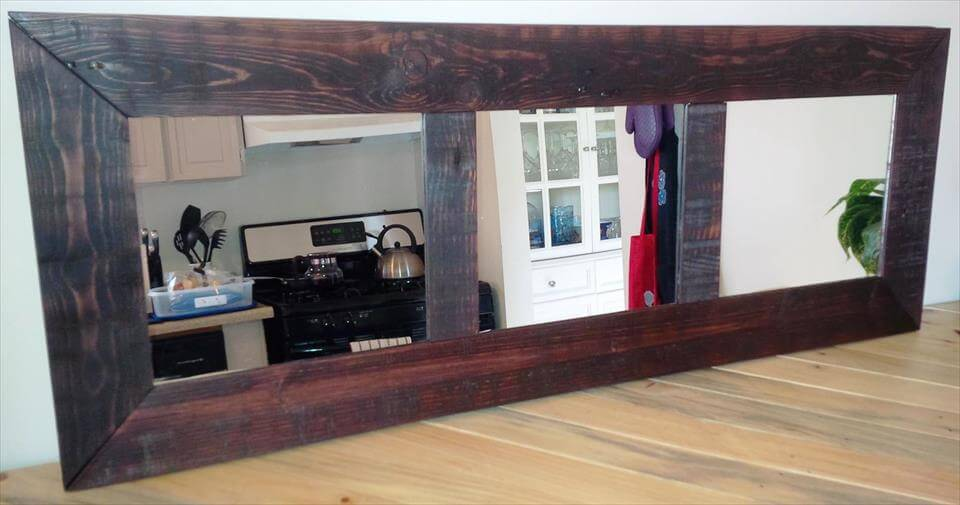 Wall Mirror With Hooks diy pallet mirror with hooks for wall - 101 pallet ideas