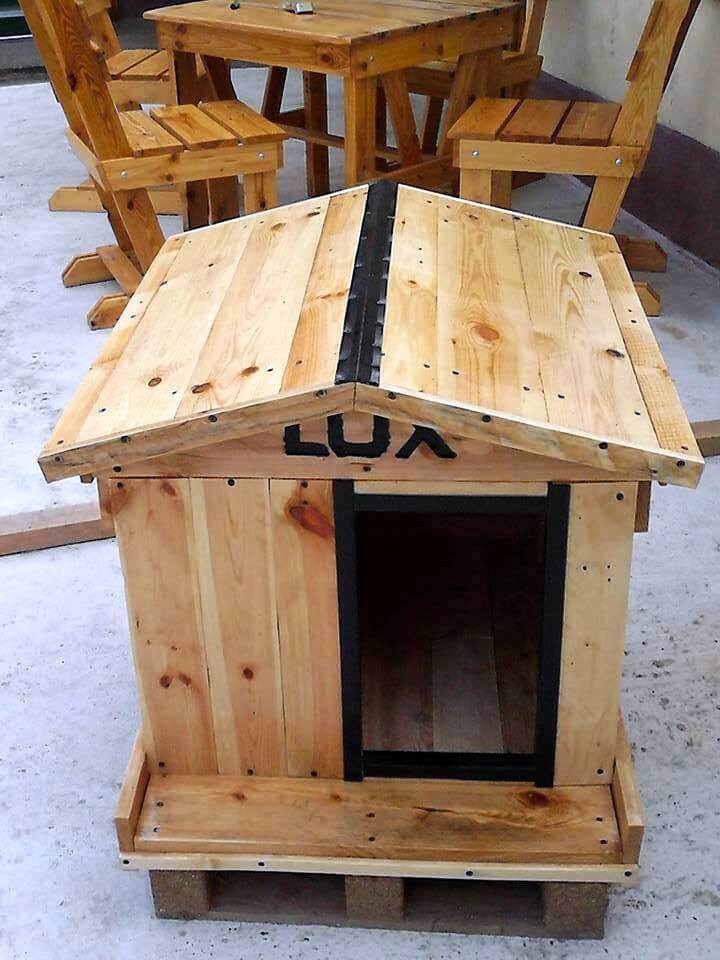 How to build a cool pallet dog house 101 pallet ideas for Cost to build a dog house