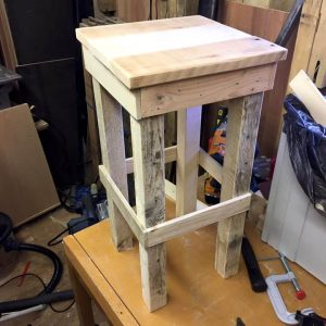 wooden bar stool made of pallets