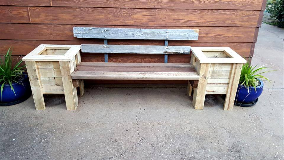 Pallet Bench Seat and Planter Box - 101 Pallet Ideas