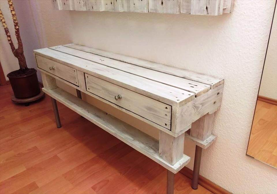 Wooden pallet entryway table with wall organizer for Entry wall table