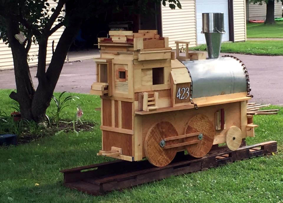 Pallet Train Engine with Track Built for Kids