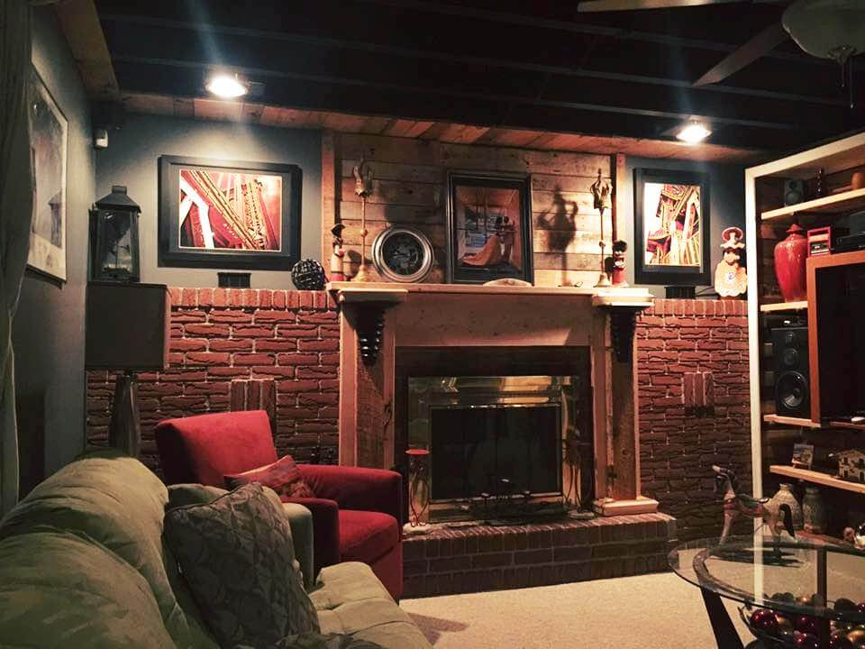 repurposed wooden pallet living room fireplace mantle wall and shelf idea