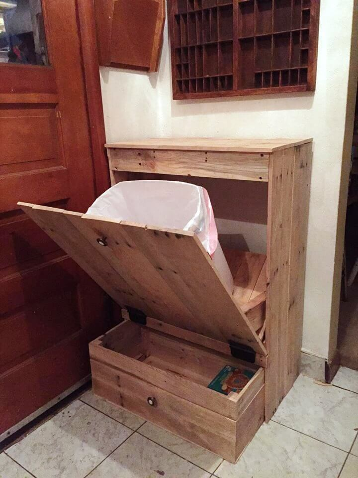 Pallet Kitchen Trash Can Holder