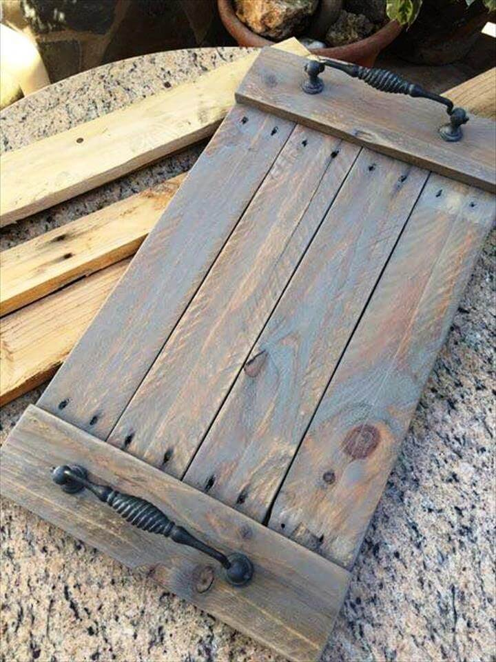 DIY Upcycled Pallet Tray, Wall Shelf
