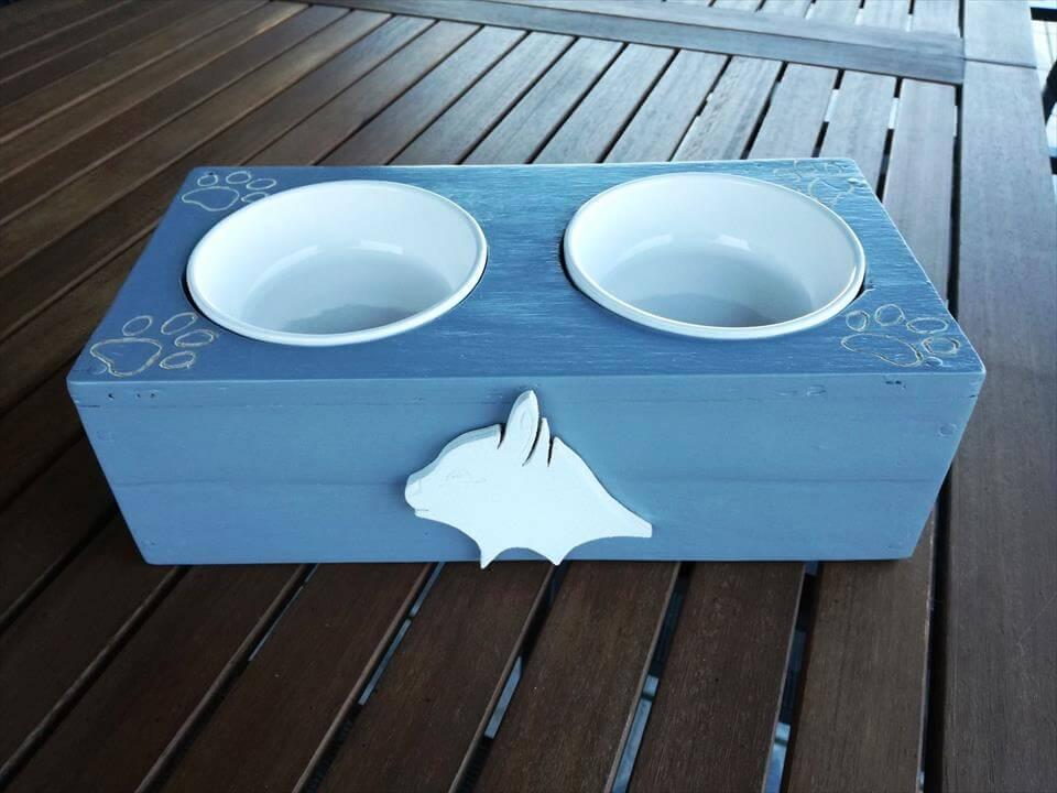 Diy Pallet Cat Feeder Dog Bowl Stand