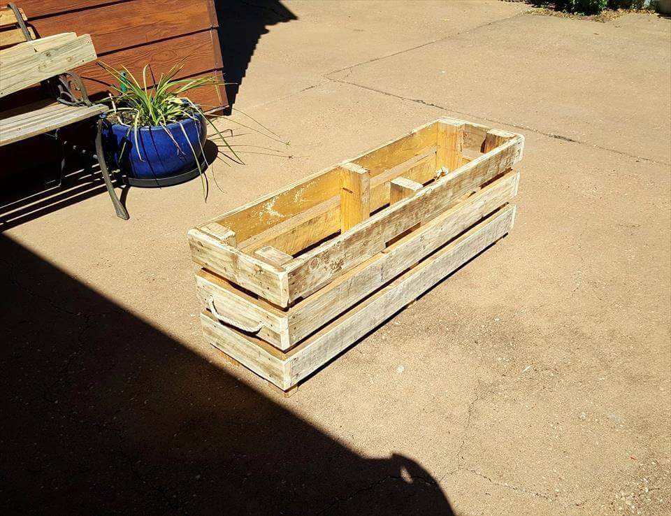 rustic wooden pallet planter box