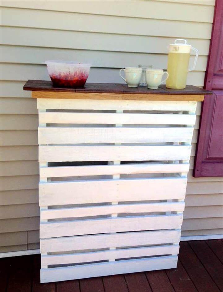 pallet deck bar with original wooden top