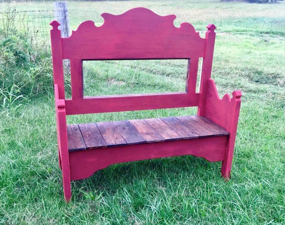 Bench from Old Headboard / Foot-board & Pallets