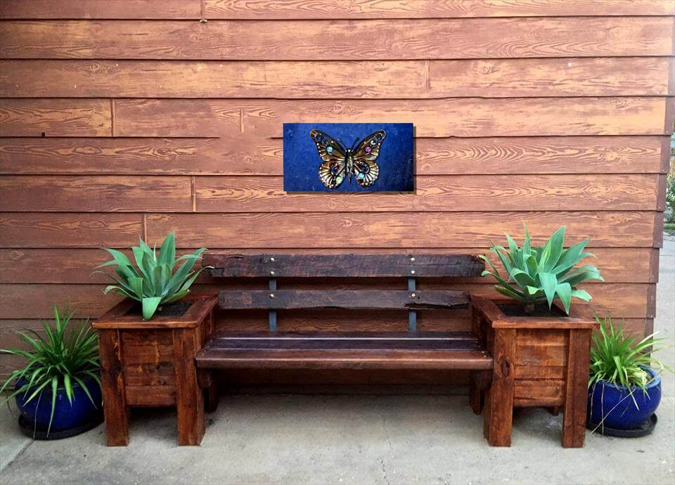 Pallet Bench Seat and Planter Box