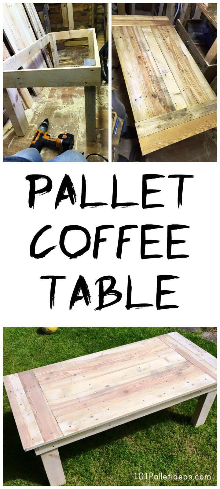 Easy pallet coffee table 101 pallet ideas for Easy coffee table ideas