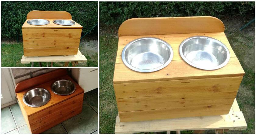 Pallet Dog Bowl Stand Dog Feeder