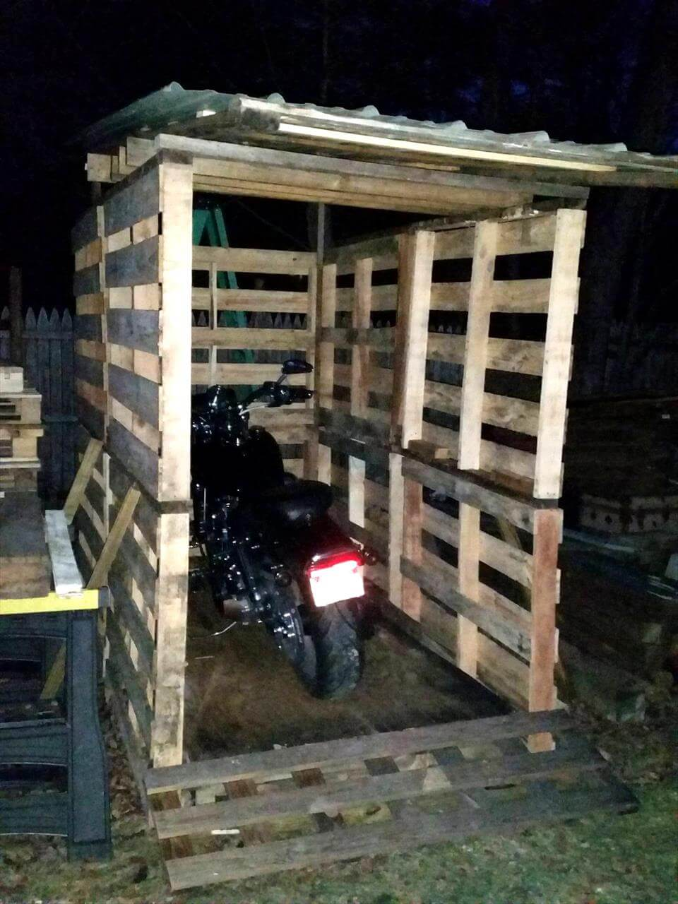 Pallet Bike Shed With Tilted Metal Roof 101 Pallet Ideas