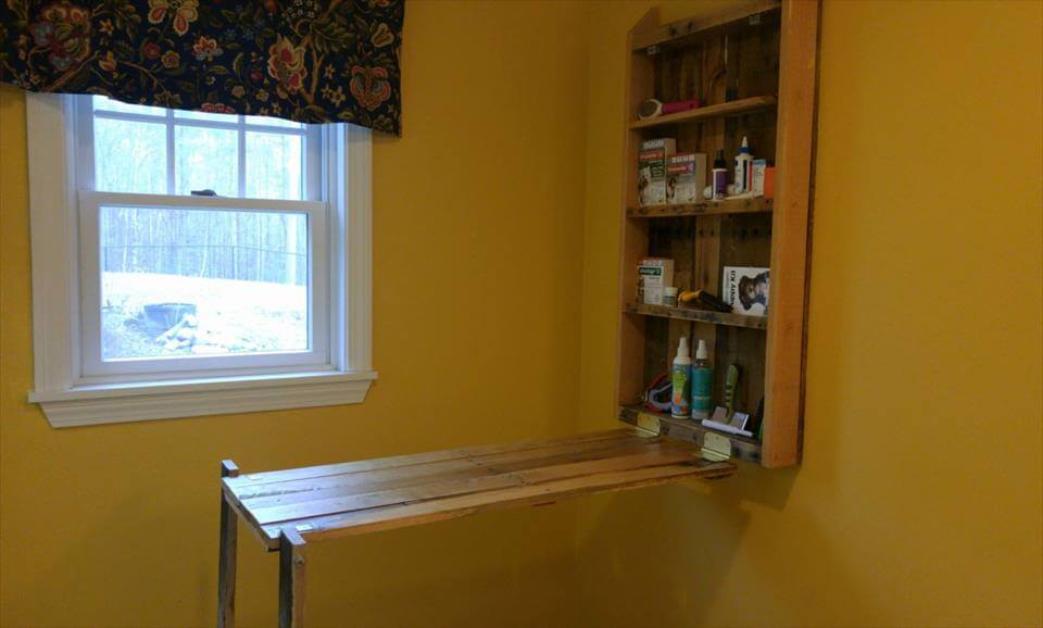 recycled pallet folding down desk or workbench