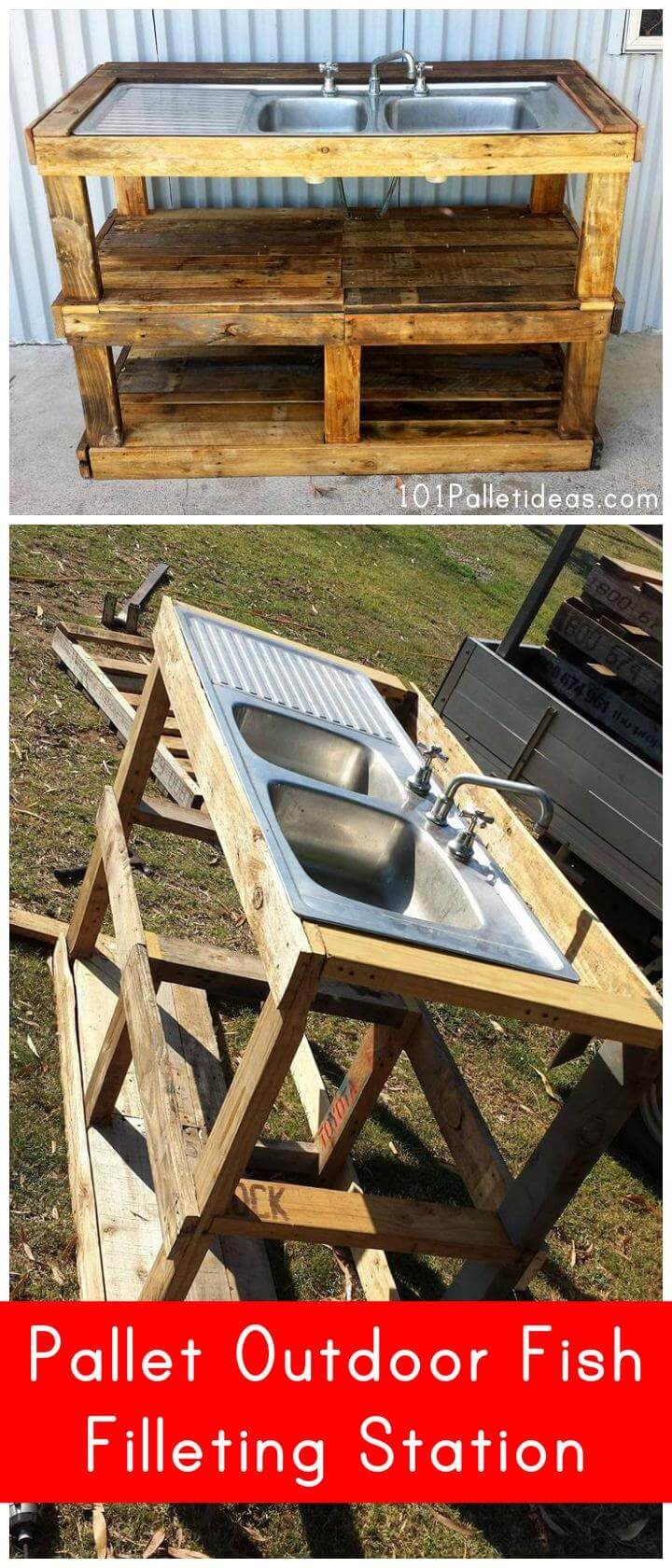 pallet outdoor fish filleting station   101 pallet ideas
