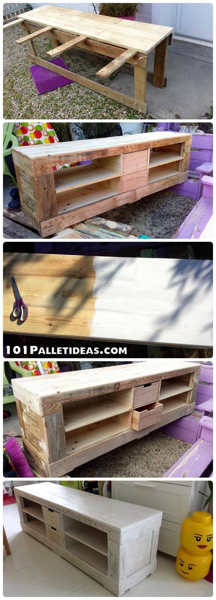 Pallet tv stand painted in white 101 pallet ideas for White painted pallets