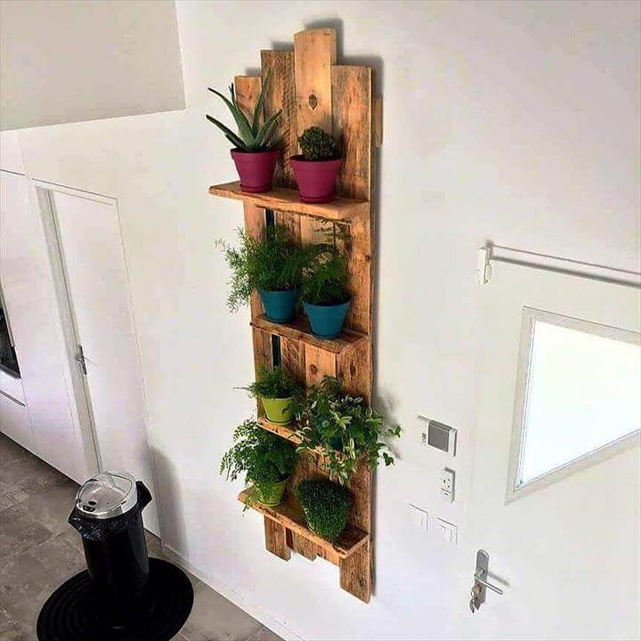 handcrafted pallet wall hanging pot display or organizer