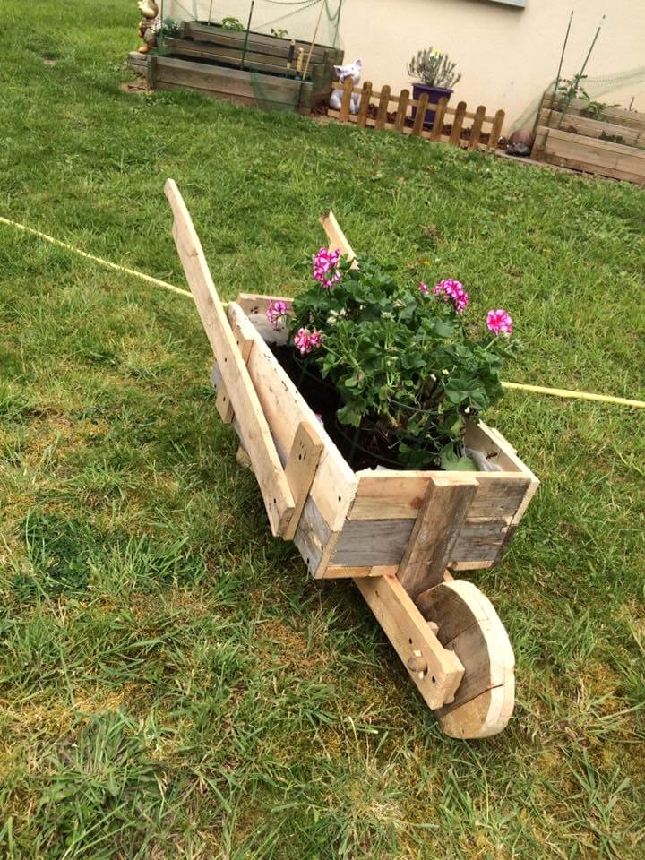 custom wooden wheelbarrow planter