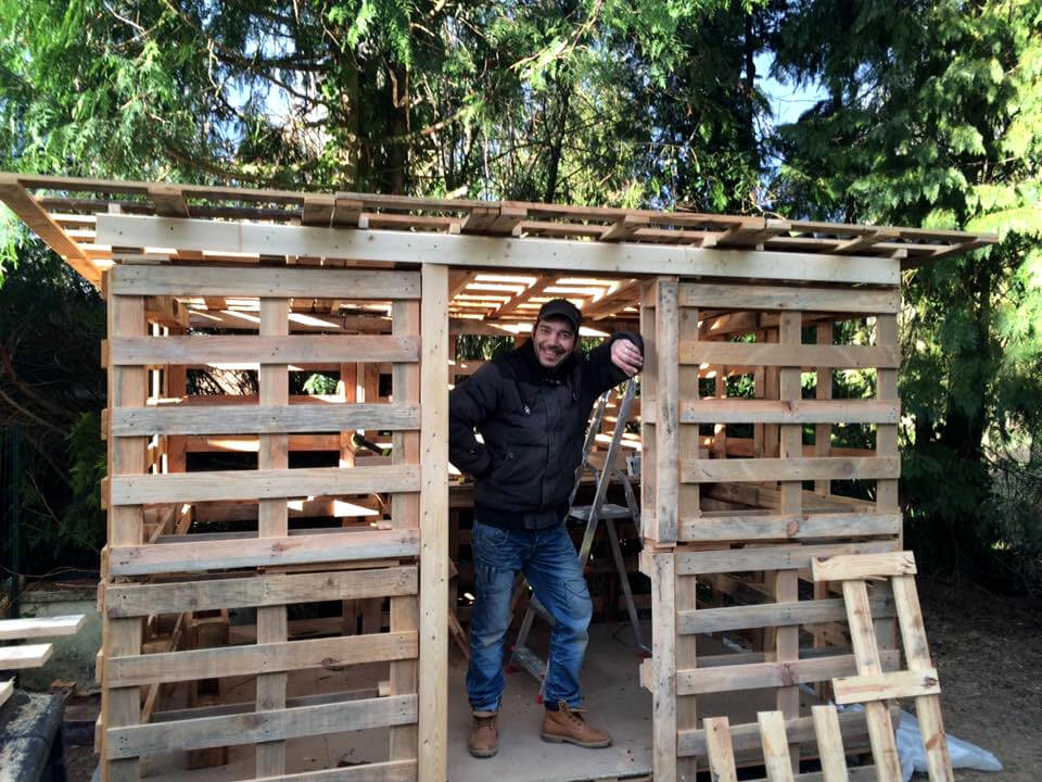 wooden pallet shed installation