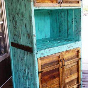 sturdy wooden pallet kitchen hutch