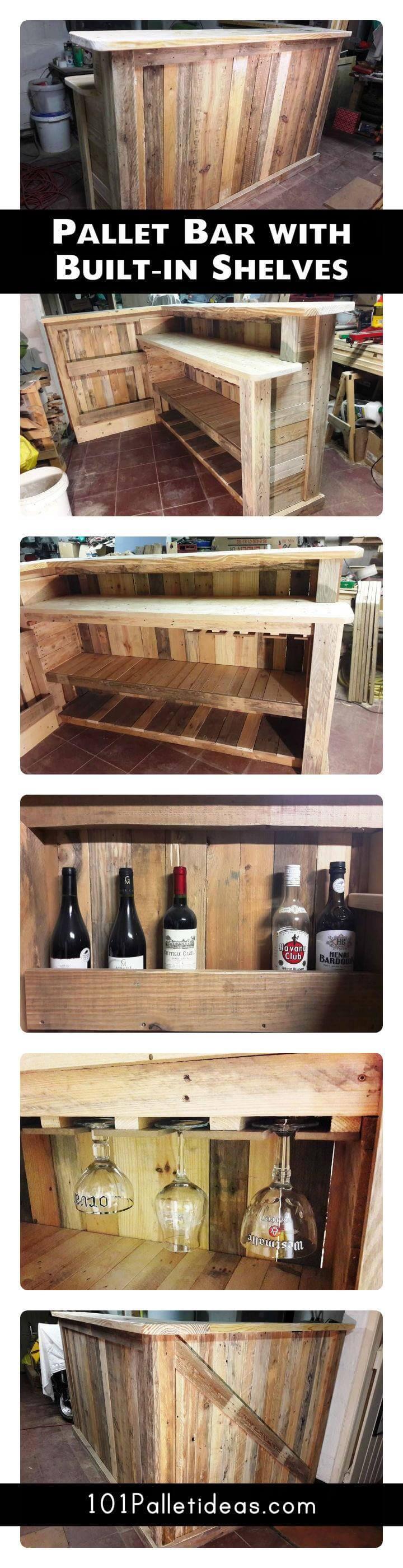 diy pallet bar with custom built in shelves 101 pallet ideas. Black Bedroom Furniture Sets. Home Design Ideas