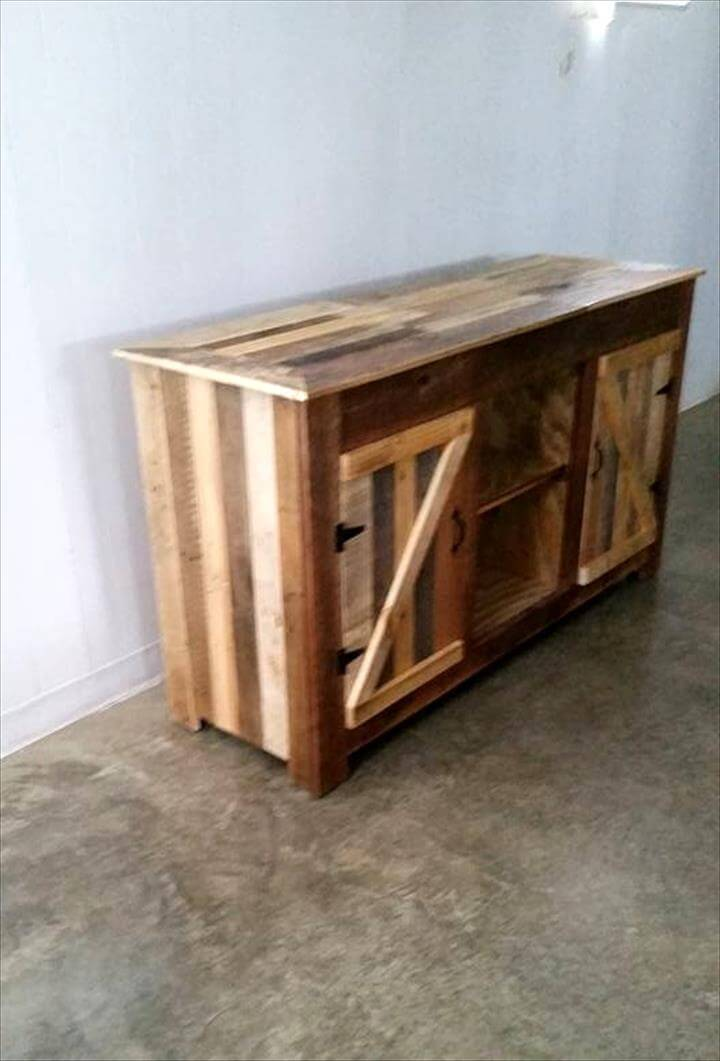 Upcycled pallet entertainment center 101 pallet ideas for Upcycled entertainment center