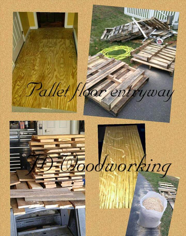 upcycled pallet entryway wood flooring project