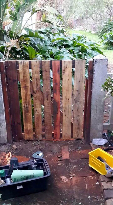 hand-built wooden pallet garden gate