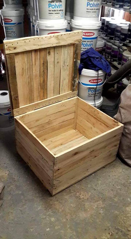 sturdy wooden pallet storage box