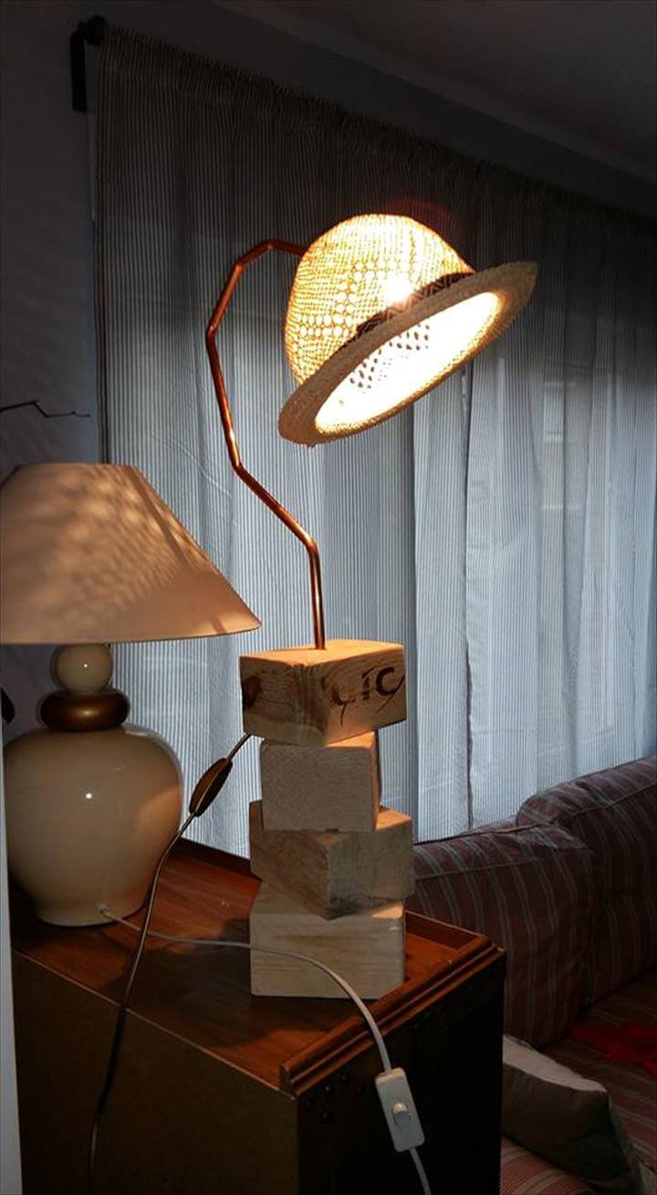 reclaimed pallet chocks and old hat table lamp