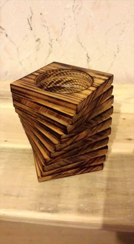 handmade wooden pallet pencil holder